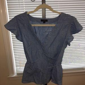 Jcrew chambray peplum flutter sleeve shirt